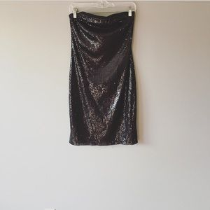 NWT The Limited Strapless Black Sequin Dress Med